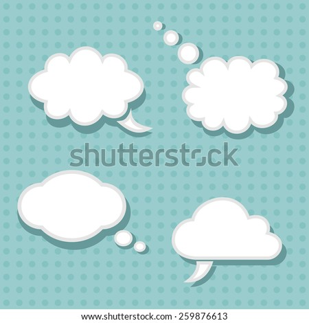 Set of 4 Talk Bubbles. Clouds. Vector.