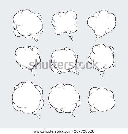 Set of 9 talking bubbles with white fill.  - stock vector