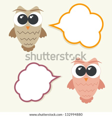 Set of talking owls with speech bubbles for sticker, tag, frame, banner etc. - stock vector