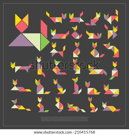 Set of tangram cats - vector illustration - stock vector