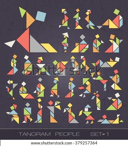 Set of tangram people on grunge background. Tangram shapes. vector elements for design.  - stock vector