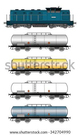 Set of tank train illustration - stock vector