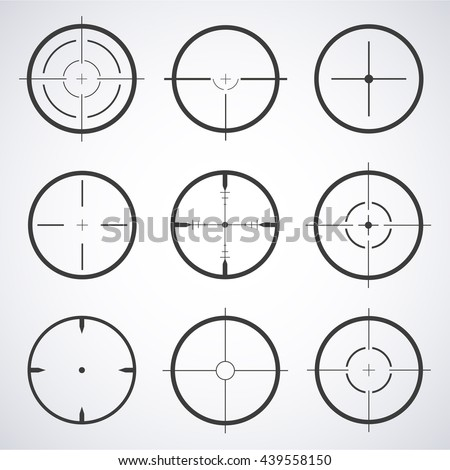 Set of target icons sight sniper symbol isolated on a gray background, crosshair and aim vector illustration stylish for web design