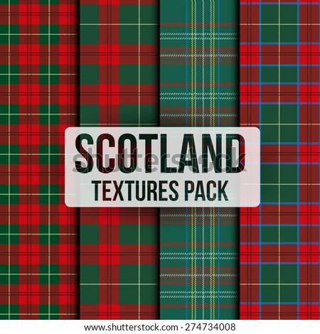 Set of tartan fabric texture pattern seamless. Traditional Scotland plaid. Vector Illustration. - stock vector