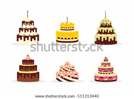 Set of tasty cakes with cream for birthdays, weddings, anniversaries and other celebrations. Vector illustration of a flat design isolated on white background