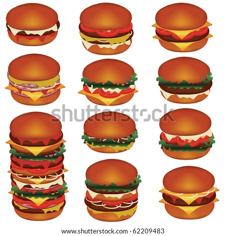 set of tasty hamburgers with meat, cheese, tomato, lettuce - stock vector