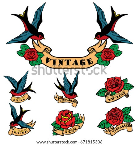 set tattoo templates swallows roses old stock vector 671815306 shutterstock. Black Bedroom Furniture Sets. Home Design Ideas
