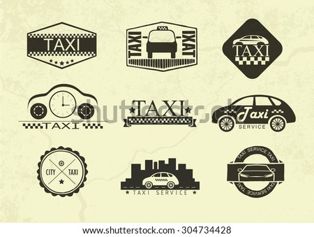 Set Taxi Badges Logos Labels Isolated Stock Vector - Car signs logos