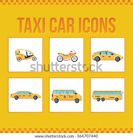 Set of taxi icons. Limousine taxi. Bus taxi. Special taxi. Vector illustration for web sites, presentations and printing