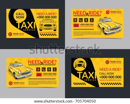 set taxi service business cards layout stock vector royalty free