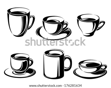 Set of tea and coffee cups. Vector black silhouettes. - stock vector