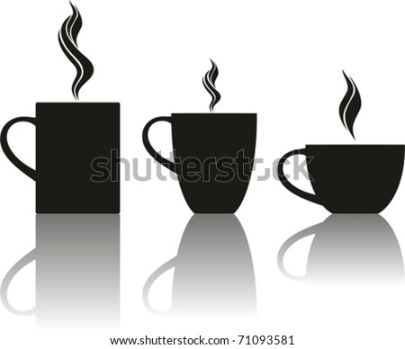 Set of tea and coffee cups. Vector illustration. - stock vector