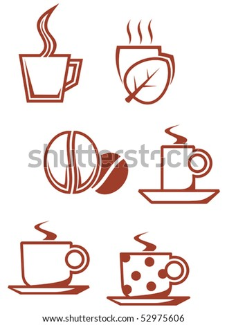 Set of tea and coffee symbols for design or logo template. Jpeg version also available - stock vector