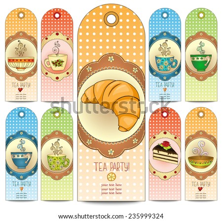 Set of tea, coffee and sweets doodle template pattern invitations. Greeting card. Tea Branding Design. Breakfast Banners with cups, teapot, chocolate, lemon, cake, croissant and sweets. - stock vector