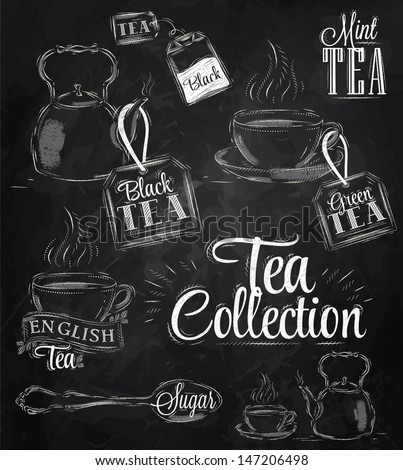 Set of tea collection with a tea cup and tea bags in vintage style stylized drawing with chalk on blackboard. - stock vector