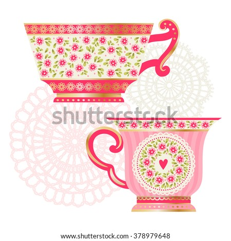 Set of tea cups and napkins. Vintage - stock vector