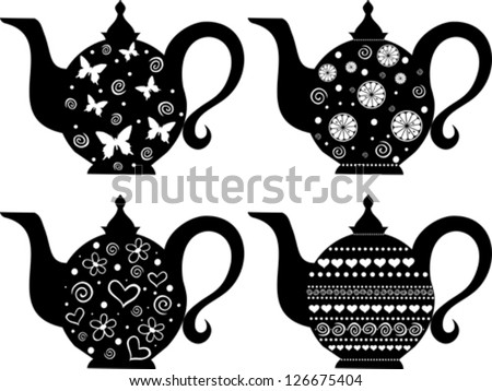 Set of teapot isolated on White background. Vector illustration - stock vector