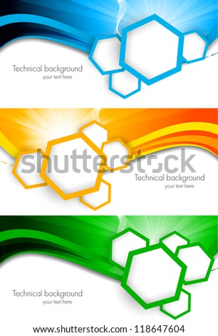 Set of tech banners - stock vector