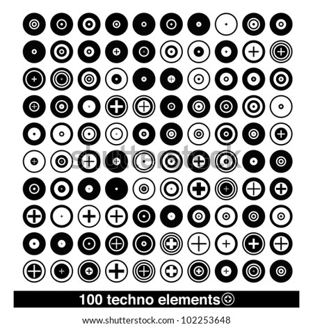 Set of techno elements for print multimedia and web - stock vector