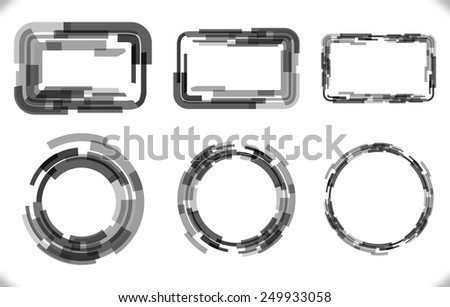 Set of techno - frames with different thickness for futuristic design. Abstract rectangular and circular vector geometric shapes with random transparency. - stock vector
