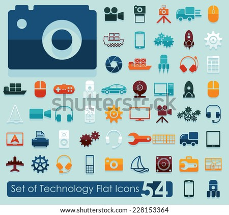 Set of technology flat icons - stock vector