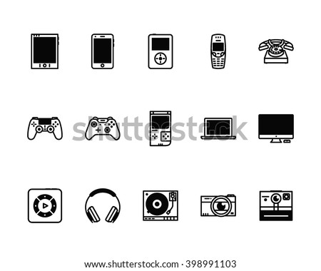 Set of 15 technology icons for web sites. Vector illustration.
