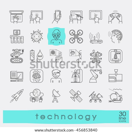 Set of technology icons. Various high tech icons.  - stock vector