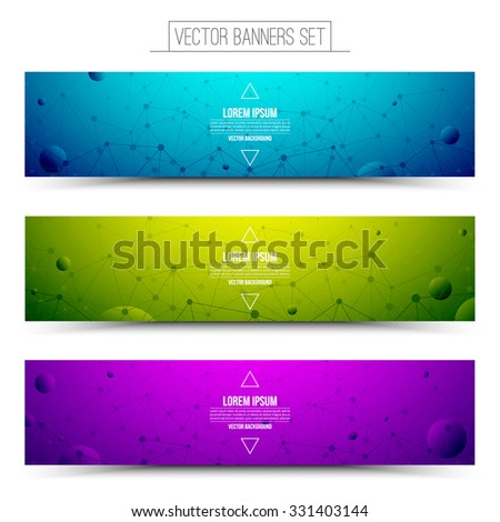 Set of technology vector colorful web banners. Internet advertising business. Connection structure. Technology vector background. Design vector elements. Media advertising business. Science background - stock vector