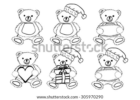 set of Teddy Bear in black and white