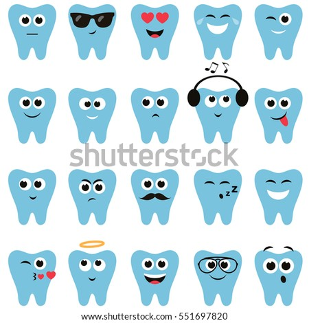 Set of teeth icons with different expressions