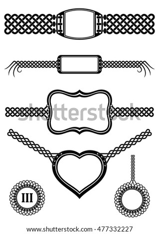 Set of template badges with buckle tails interlaced into plait patterns. Black and white vector graphic design elements.