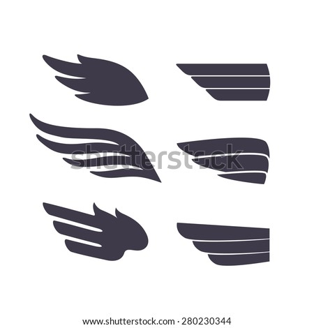 Set of Template Birds Arms. Vector Sign for Tattoos, Logos, Labels and Icons. Decorative Isolated Wings. - stock vector