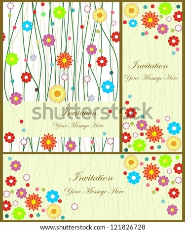 set of template frame design for greeting card with colorful flowers