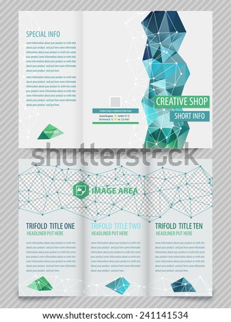 Set of template light vector designs for trifold brochure with colorful polygons and white polygonal grid. Editable, bright. Proportionally for A4 size - stock vector
