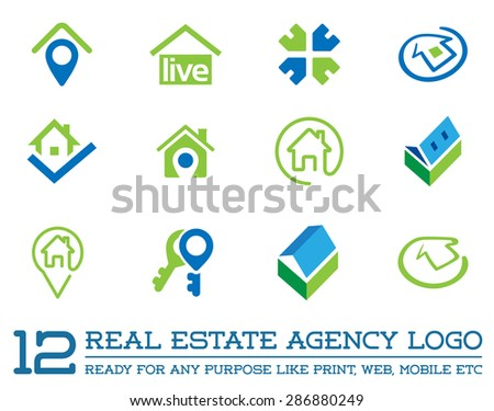 Set Of Template Logo For Real Estate Agency Or Cottage Town Elite Class