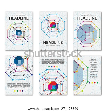 Set of templates business brochures with crystal. Fashionable graphics on scientific topics. Use in banners, flyer, corporate report, presentation, advertising, marketing etc. Vector illustration. - stock vector