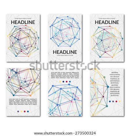 Set of templates business scientific brochures. Modern stylish graphics. Use in design banners, flyer, corporate report, presentation, advertising, marketing etc. Vector illustration. - stock vector