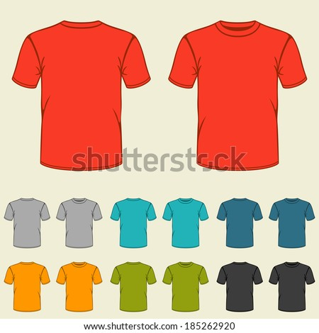 Set of templates colored t-shirts for men. - stock vector