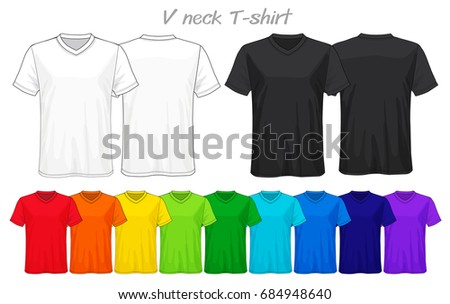 Set Templates Colored V Neck Tshirt Stock Vector 684948640 ...