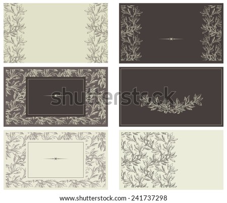Set of templates for business cards. Vector banners copy space for your text  at retro style - stock vector