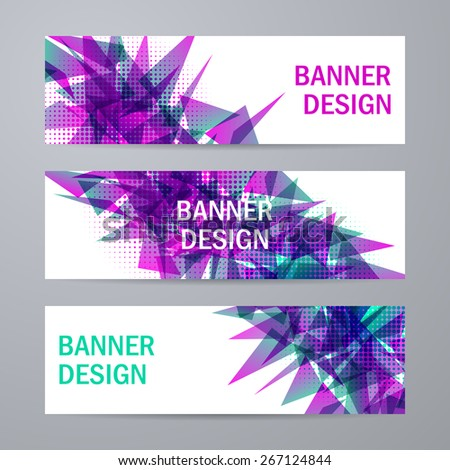 Set of templates for design of banners, covers, posters, web pages in geometric graphic style. Abstract modern polygonal backgrounds. Vector illustration EPS10 - stock vector