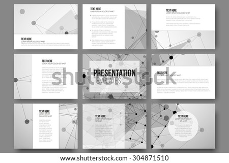 Set of 9 templates for presentation slides. Abstract gray backgrounds, triangle design vectors. - stock vector