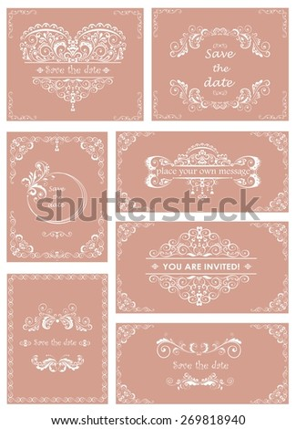 Set of templates for wedding invitations