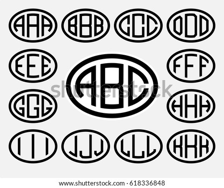 Monogram letters stock images royalty free images vectors set 1 of templates from three capital letters inscribed in a oval from wide lines pronofoot35fo Images
