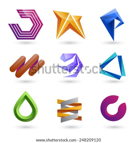 Set of templates gradient logos. Vector EPS 10