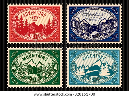 set of templates stamps with fir forest and mountains - stock vector