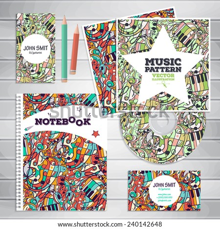 Set of templates: the drive, business cards, postcard, notebook.Can be used for music and dance posters, printing, websites, surface texture, banners. Illustration contains seamless pattern. - stock vector