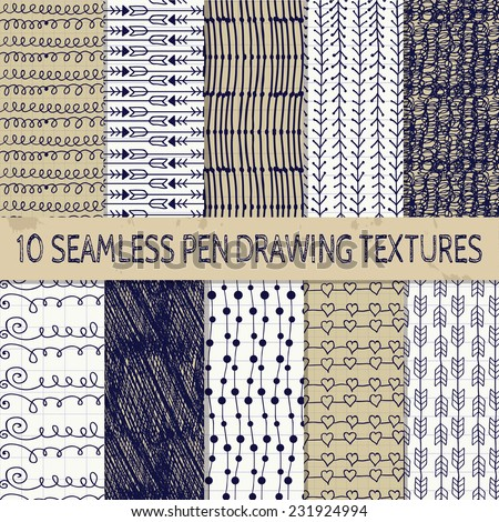 Set of Ten Abstract Pen Drawing Seamless Textures with Transparent Background. Paper into cell texture. Pattern Swatches. - stock vector