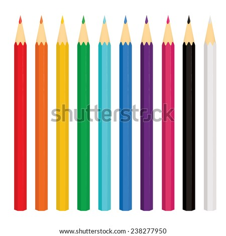 Set of ten colored pencils on white background. Vector illustration. - stock vector