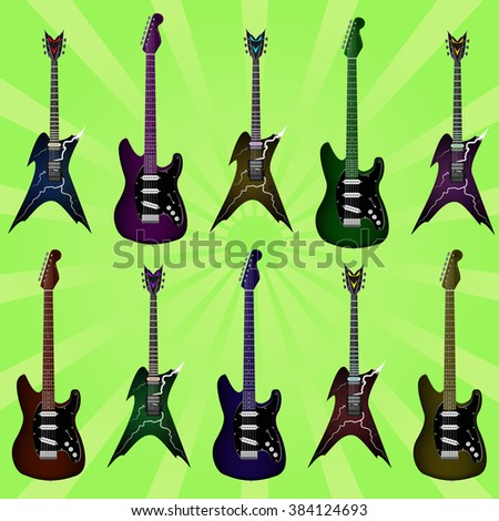 Set of ten colored realistic electric guitars. Vector flat style